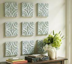 Blue Ceramic Tile Wall Art #potterybarn dining rooms, blue ceram, ceiling tiles, ceram tile, art i like, tile wall, wall art decor, pottery barn, art walls
