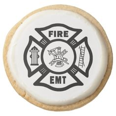 Firefighter EMT Round Sugar Cookie