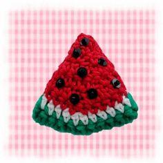 sandias a crochet | llavero de crochet, modelo sandía, color rojo y verde llavero sandía ...