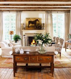 decor, european countri, living rooms, ceiling beams, horse paintings
