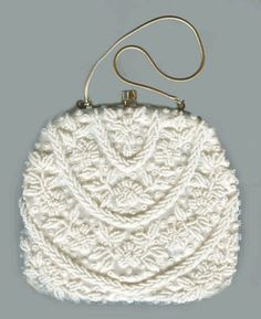 Vintage Beaded Evening Handbag Off White with Sequins - Hand Made in Hong Kong - Bridal Purse