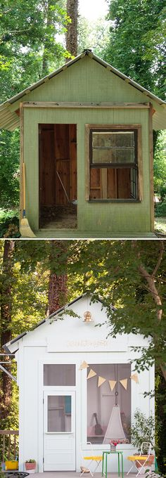 See how Joni Lay's old, unused tool shed was transformed into an enchanting playhouse for two little girls. It has a pretend kitchen, a stage for putting on shows, kid-sized doors and so many other wonderful details. See it on The Home Depot Blog. || @laybabylay