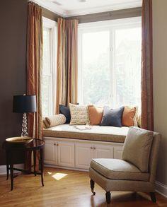 interior design, living rooms, window treatment, living room windows, bay windows, window seating, window design, reading nooks, window seats