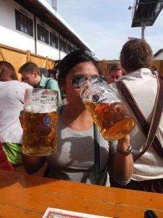 Filling up at Oktoberfest! #WomenDrinkingBeer #oktoberfest2013 #munich #lowenbrau #munchen #travel #oktoberfest #beer