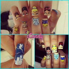 disney nails belle, disney belle nails, pretti nail, disney princesses, nail designs, nail arts, princess nails design, avon, tinker bell