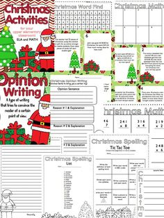 Christmas Activities for Your Upper Elementary Classroom (Writing, Math, Spelling List, and More!) $5