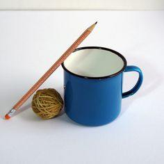 blue enameled coffee cups