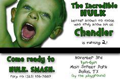 Incredible Hulk Custom Birthday Invitation by chloemazurek on Etsy, $15.00