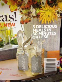 Mason jars with tags