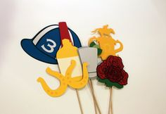 Kentucky Derby Photo Booth Props - Set of 11 includes Roses, Trophy, Jockey Hat, Mint Julep, Maker's Mark, and Horseshoe Sunglasses