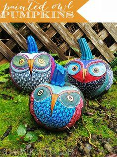 Beautiful twist on pumpkin painting! alisaburke: painted owl pumpkins