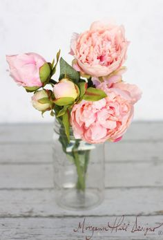 {Pink Peony Peonies Silk Flower DIY Wedding Bouquet (Item Number 140038)}
