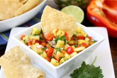 Pineapple Salsa -- this is so versatile for Phase 1. Serve with homemade tortilla chips (use phase-appropriate tortillas), crackers, or just straight up as a snack (serves 4).