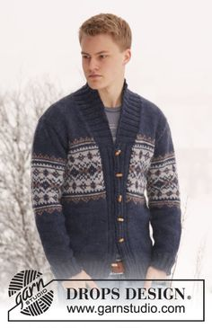 """Knitted DROPS men's jacket with pattern and shawl collar in """"Alaska"""". Size: S - XXXL. ~ DROPS Design"""