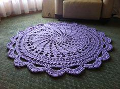 Handmade Crochet Rug - Colour: Crocus - 1m diameter - custom made to order
