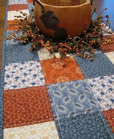 Quilted Table Runner primitive country decor by WarmandCozyQuilts, $40.00