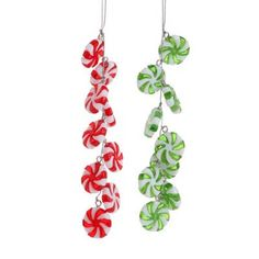 "RAZ Peppermint Candy Drop Christmas Ornament Set of 2  2 Assorted styles, set includes one of each Red/Green/White Made of Plastic Measures 6"", 6"" For Decorative Use Only  RAZ ""Gumdrops"