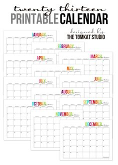 2013 free printable monthly calendars