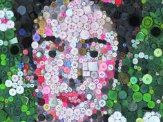 @Frida Kahlo Portrait in Buttons