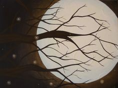Sale, Late Summer Moon- Stunning Moon, Tree and Firefly Painting with glowing moon, tree painting, moon painting