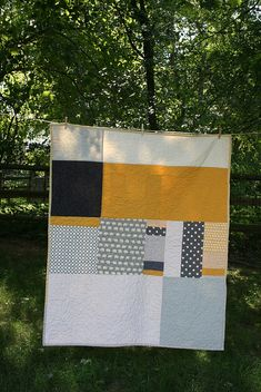 Grey and Yellow Contemporary Quilt