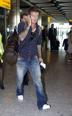 Casual...Beckham style...nice bag too!