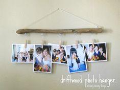 DIY driftwood photo hanger