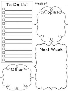 """Weekly Planner To Do List. I would use this as a daily sheet and replace """"Next Week"""" with """"Tomorrow"""""""