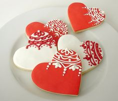 Valentine Lace Heart Cookies