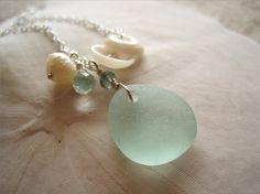 puka shell & sea glass pendant
