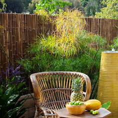 Care-free garden: Hide a wall    An imposing cement-block wall made Reyes's yard seem small.    Rather than replacing it, he chose a cheaper, faster option: Cover it with bamboo fencing
