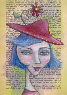 Red Daisy Hat - 5x7 Art Print of Evelynn Anne with Jaunty Red Hat and Gerber Daisy. $16.00, via Etsy. art journal, média art, clip art, art prints, art rh, artist face