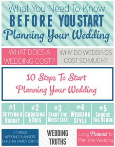 Perfect resource for the newly engaged! Everything you need to know about weddings and the steps you need to take to get started in planning your wedding.