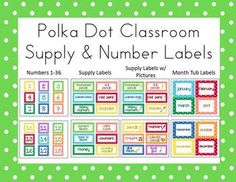 These 42 classroom supply labels with polka dot borders organize your supplies in fun, colorful style.  I have included a set both with and without...