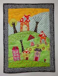 """On top of the Hill"". Applique."