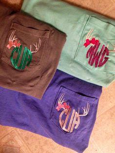 Women's Monogram Deer Antlers Girly Pocket Tee, Comfort Colors Vintage Wash T-Shirt, Short Sleeve or Long Sleeve on Etsy, $20.00