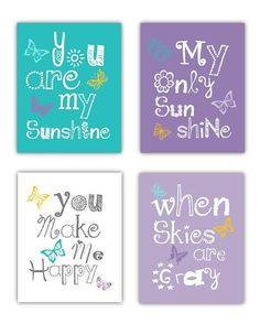 Wall Decor for Girls Room You are my sunshine Art Prints, 4-8x10 prints,  nursery, or playroom art prints, arts and crafts for babies, nurseri, babi girl, wall art for girls room, sunshin art, baby wall art girl, butterfli art, girl rooms