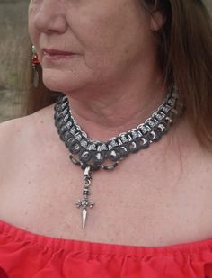 Skull'n Crossbone Necklace -made with soda tabs