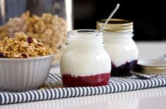 Homemade fruit-bottom yogurt