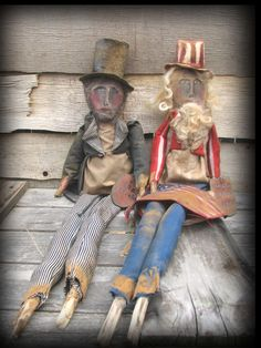 Primitive Folk Art Abe and Uncle Sam Dolls ...sold  but you can view my current prim dolls on facebook https://www.facebook.com/HootnhollarprimsByJoannPalmer