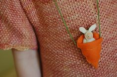 felted Easter bunny necklace