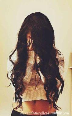 Dark Brown Hair. Curly. Long.