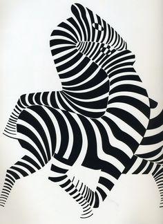 Zebras positive negative space pattern by artist Victor Vasarely.