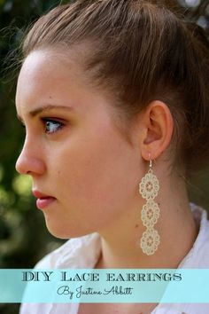 DIY Lace Earrings by Justine @ Sew Country Chick diy lace earrings, diy earrings