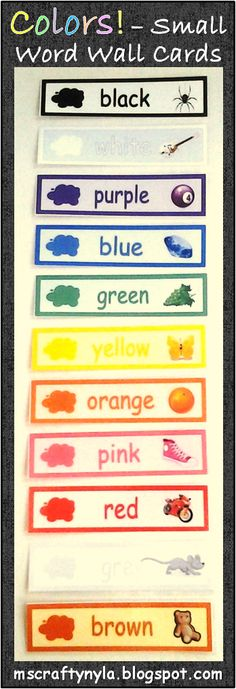 Small Word Wall cards for #colors #kinder #1stgrade $