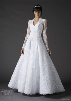 V-neck, A-line, long sleeved #Wedding #Dress … Wedding #ideas for brides, grooms, parents & planners https://itunes.apple.com/us/app/the-gold-wedding-planner/id498112599?ls=1=8 … plus how to organise an entire wedding, within ANY budget ♥ The Gold Wedding Planner iPhone #App ♥ http://pinterest.com/groomsandbrides/boards/  for more #wedding #inspiration #gowns