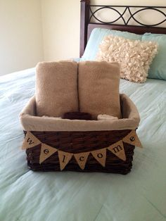 Welcome Banner basket on the bed for the guest bedroom!
