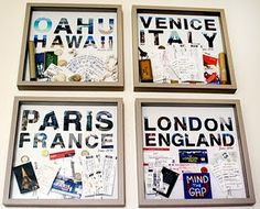 "Shadow boxes used to create a ""scrap box"" to display all my travel keepsakes. I always keep boarding passes, train tickets, receipts, brochures etc so this would be a great way to display them rather than the storage box in the top of the cupboard."