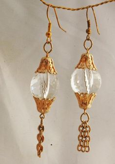 Large    Crystal Faceted Lucite Gold Dangle  Earrings / Hand Crafted One of Kind .  Stunning  unique  hand crafted earrings made from vintage beads and components.       They are an original../ Hand...