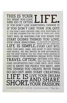 This is your life - a manifesto.